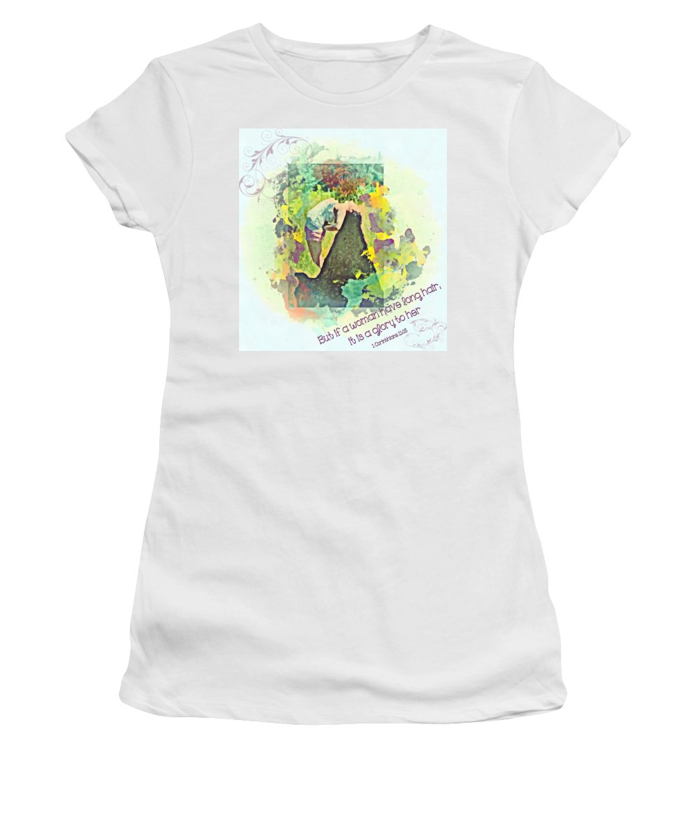 Jesus Women's T-Shirt featuring the digital art 1 Corinthians 11 15 by Michelle Greene Wheeler