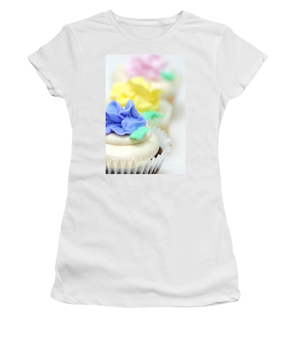 Baked Goods Women's T-Shirt featuring the photograph Cupcakes Shallow Depth Of Field by Amy Cicconi