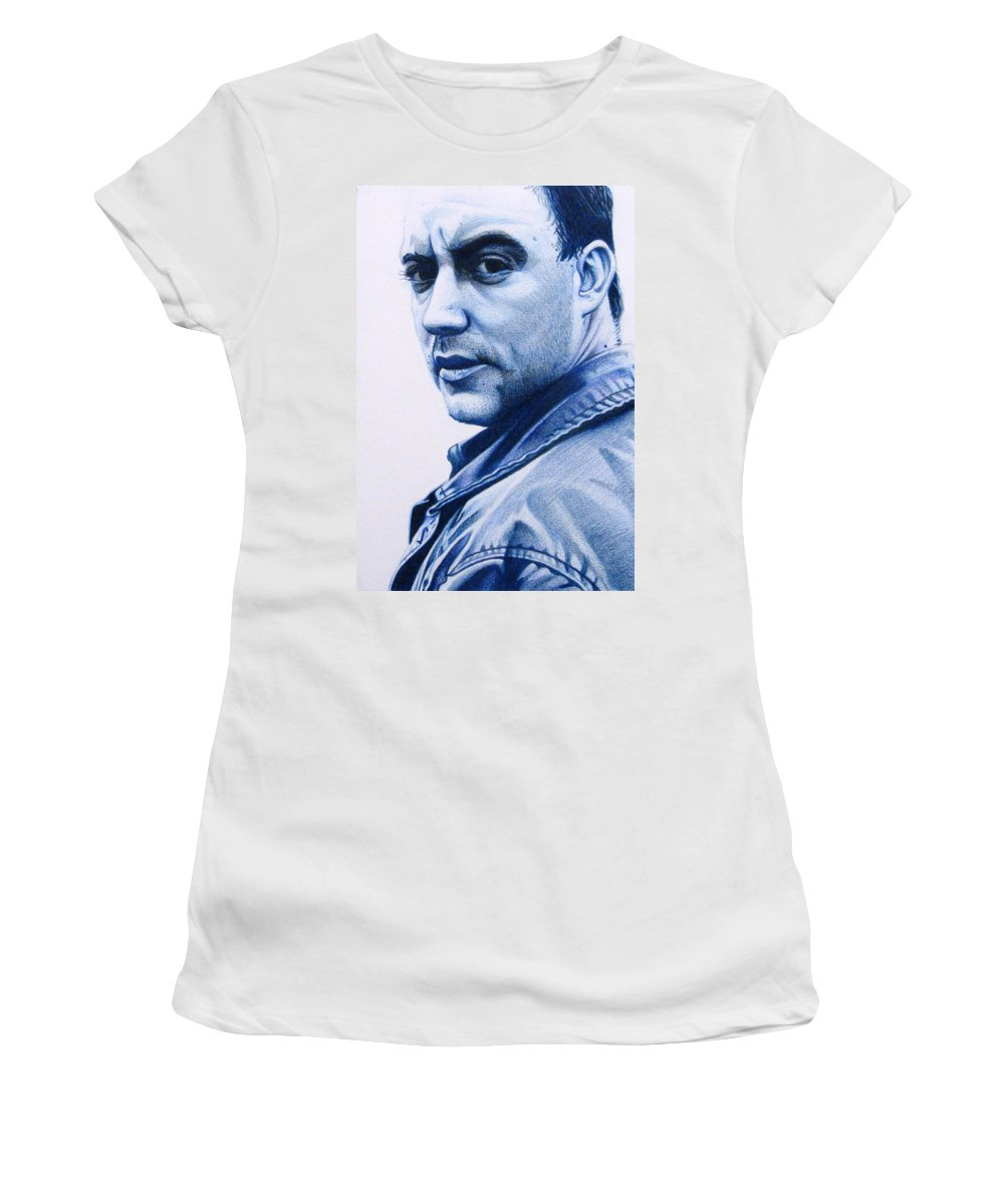Dave Matthews Women's T-Shirt (Athletic Fit) featuring the drawing Dave Matthews by Joshua Morton