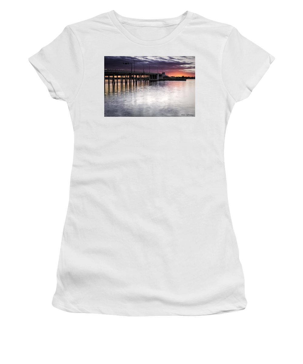 Bridge Women's T-Shirt (Athletic Fit) featuring the photograph Drawbridge At Sunset by Fran Gallogly