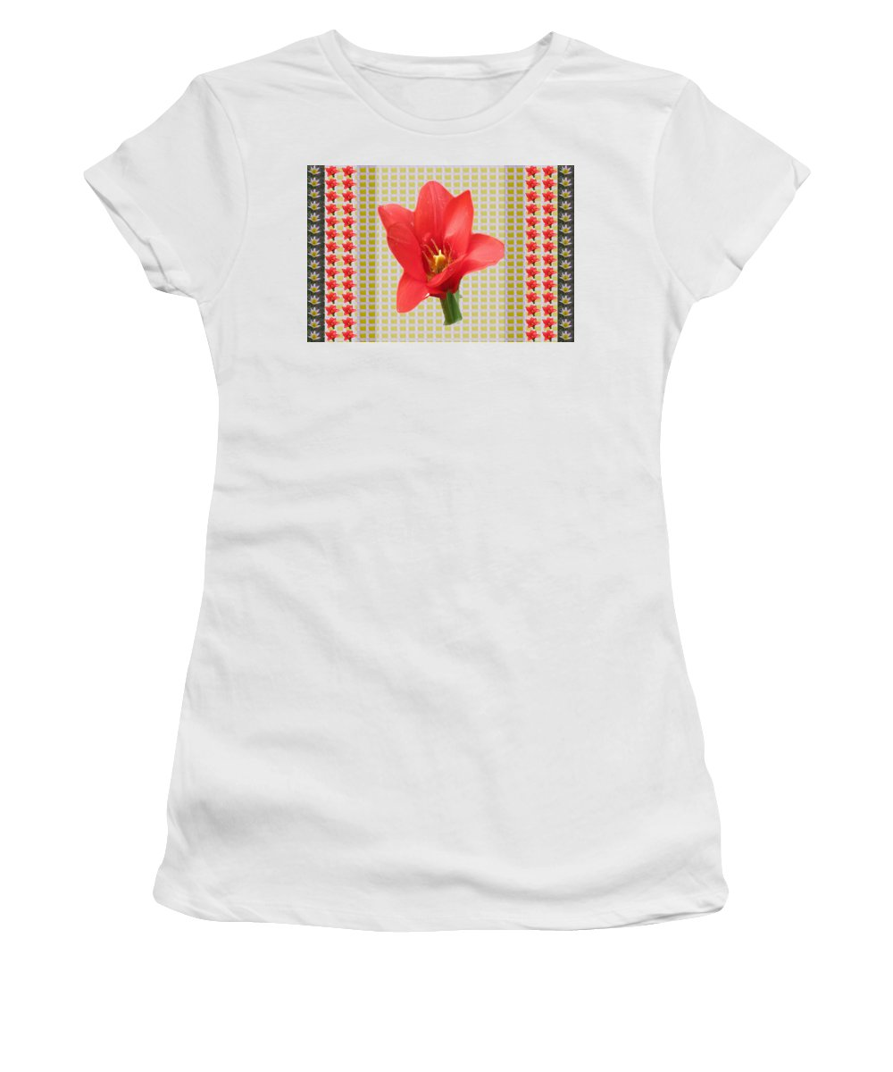Tulip Women's T-Shirt featuring the mixed media Exotic Red Tulip In Bold And Two Border Patterns Tiny Sparkle Parallal Horizontal Strips Summer Flow by Navin Joshi
