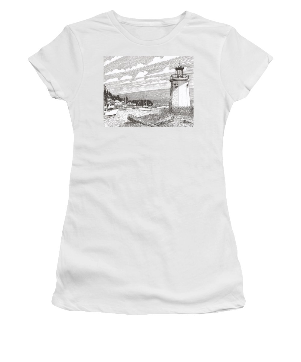 Lighthouse Art Women's T-Shirt (Athletic Fit) featuring the drawing Lighthouse Gig Harbor Entrance by Jack Pumphrey
