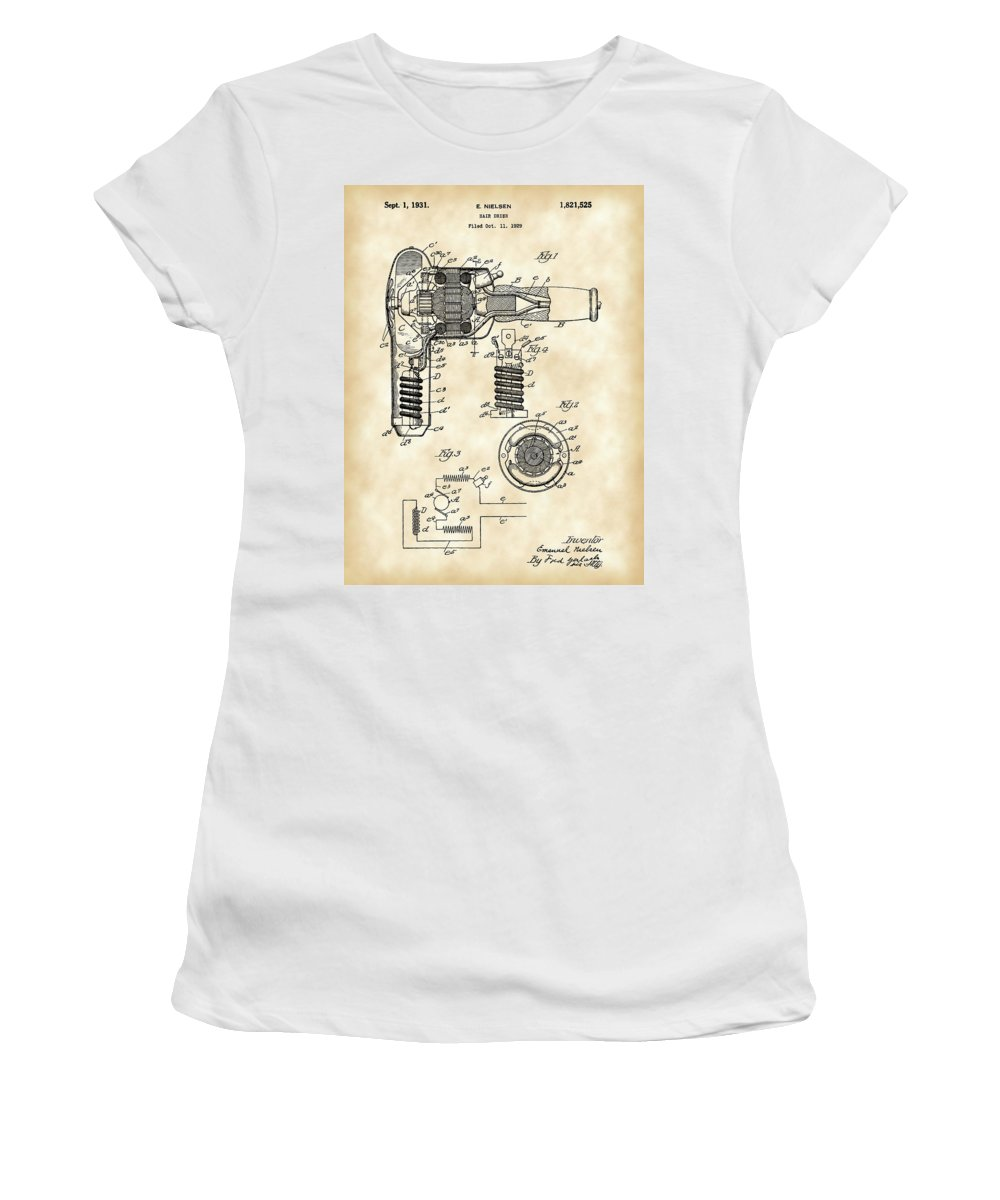 Hair Women's T-Shirt featuring the digital art Hair Dryer Patent 1929 - Vintage by Stephen Younts