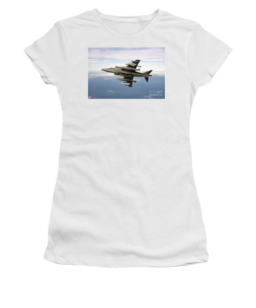 Banking Women's T-Shirt featuring the photograph Harrier Gr7 by Paul Fearn