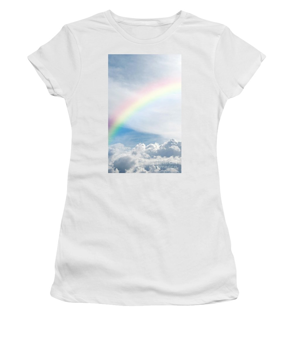 Rainbow Women's T-Shirt (Athletic Fit) featuring the photograph Heavenly Rainbow by Antony McAulay
