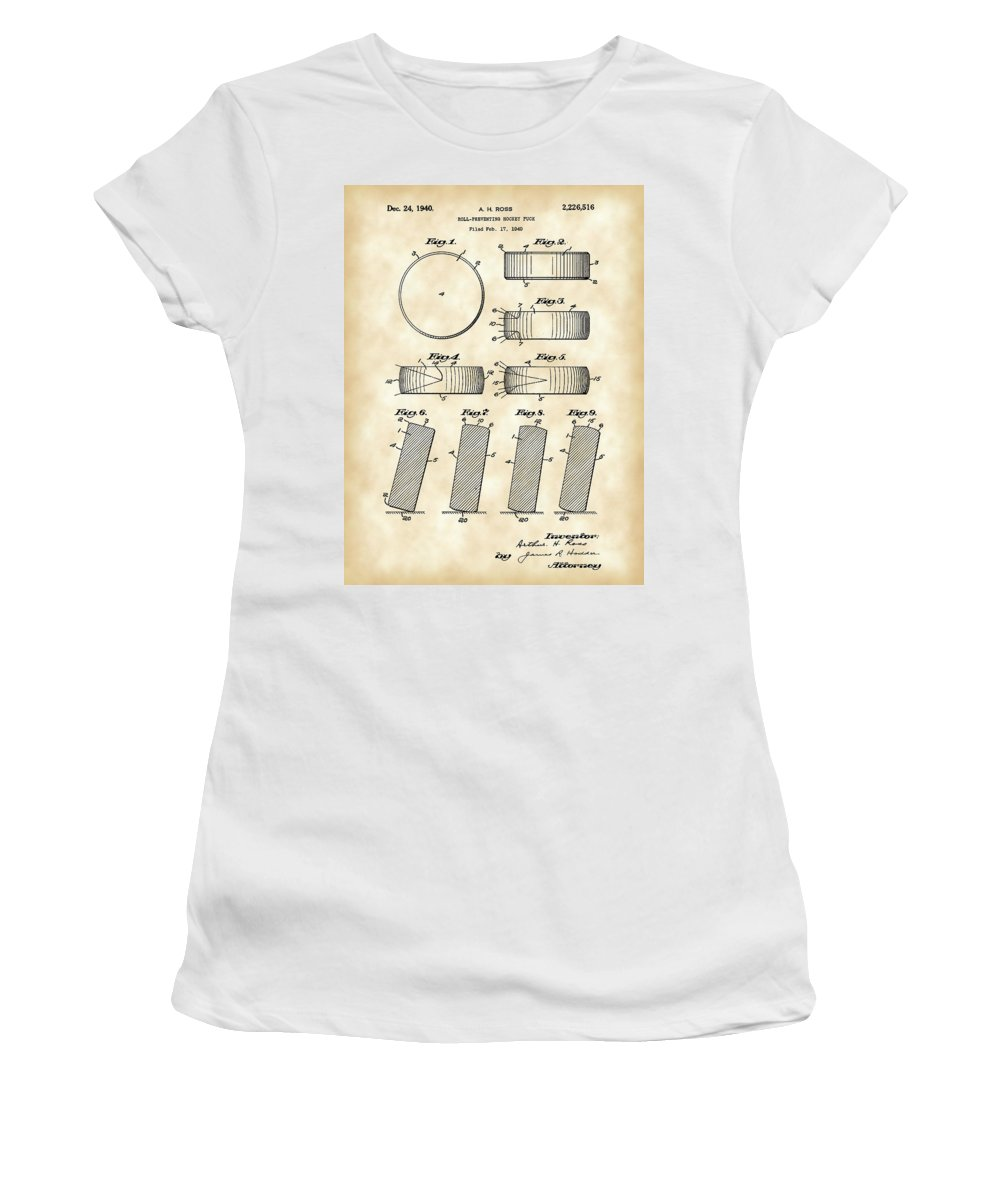 Hockey Women's T-Shirt featuring the digital art Hockey Puck Patent 1940 - Vintage by Stephen Younts