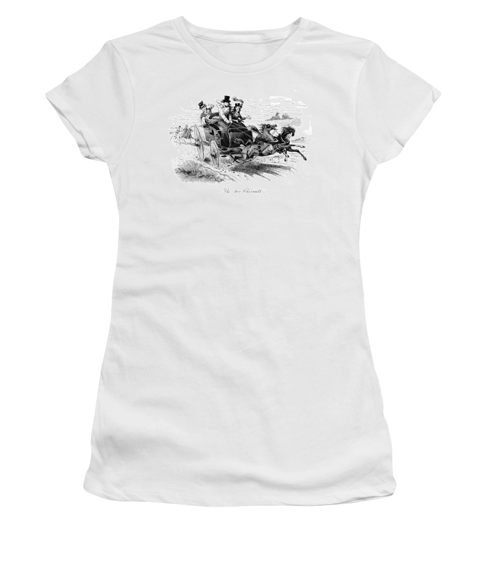 19th Century Women's T-Shirt (Athletic Fit) featuring the painting Horse-drawn Carriage by Granger