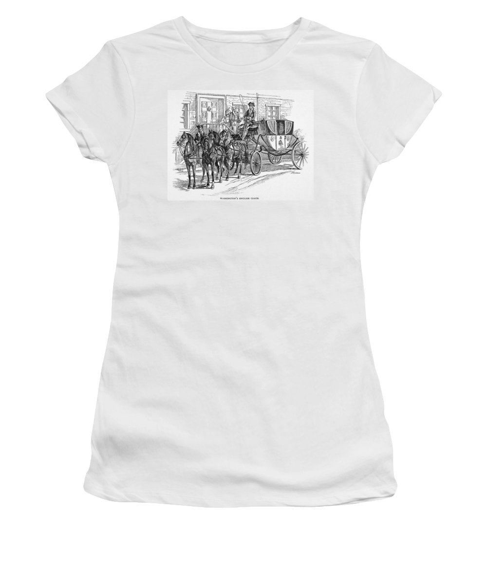 18th Century Women's T-Shirt (Athletic Fit) featuring the painting Horse-drawn Coach by Granger