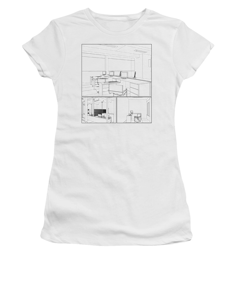 Interior Women's T-Shirt featuring the digital art Interior Office Rooms by Nenad Cerovic