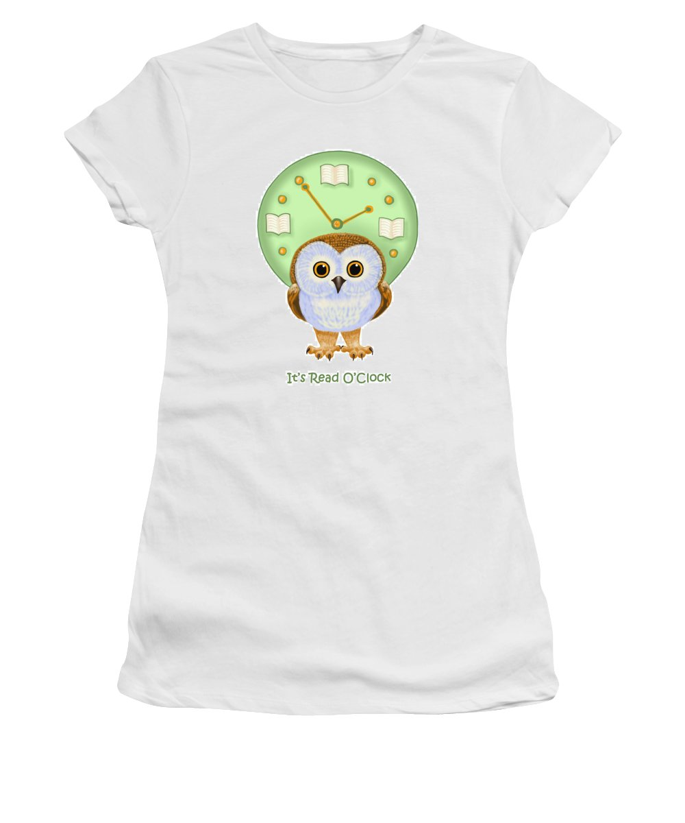 Owl Women's T-Shirt (Athletic Fit) featuring the painting It's Read O'clock by Leena Pekkalainen