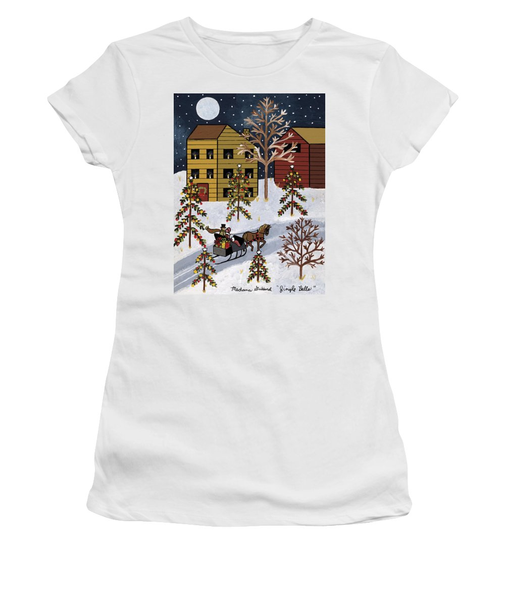Christmas Women's T-Shirt featuring the painting Jingle Bells by Medana Gabbard