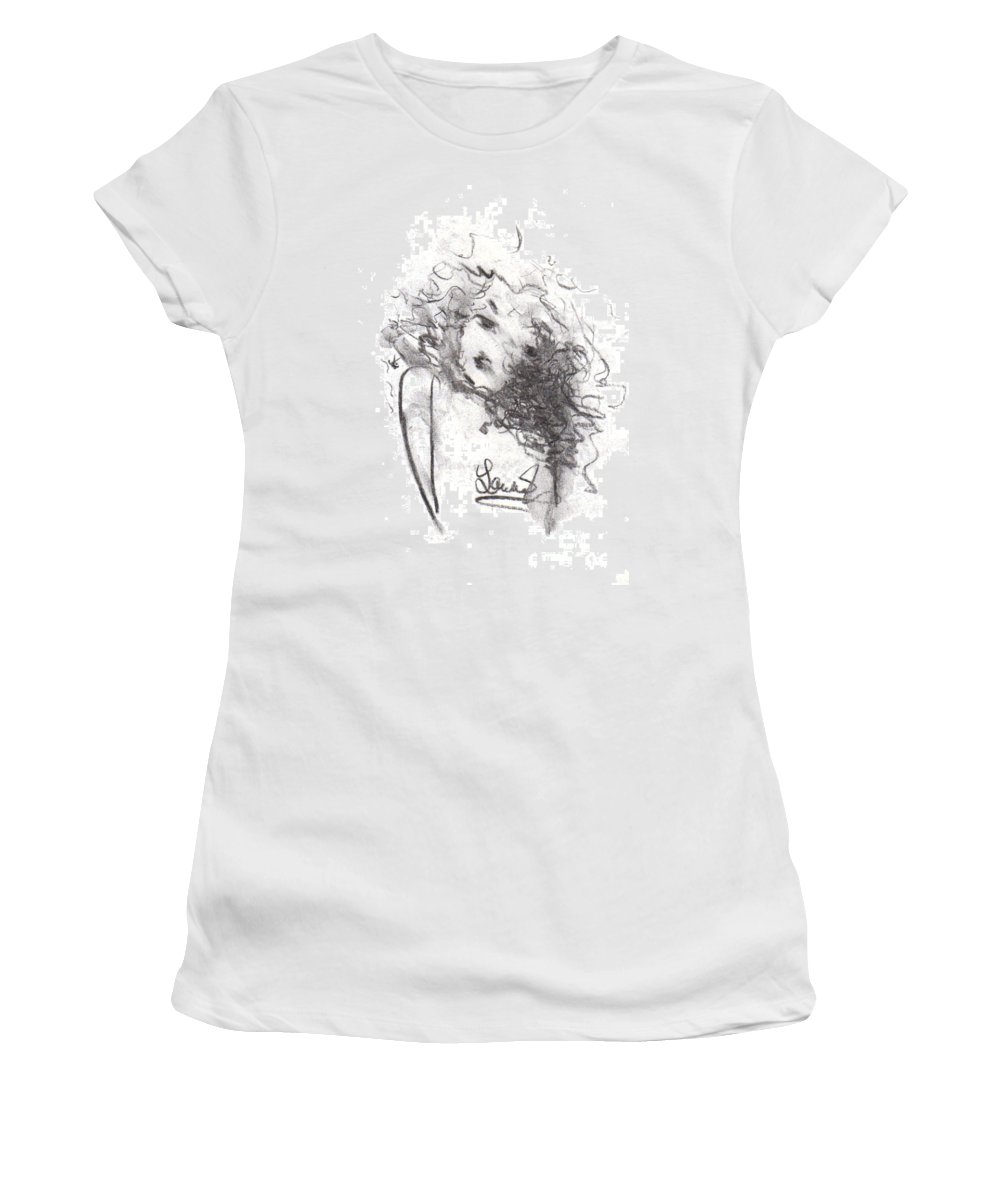 Girl Women's T-Shirt (Athletic Fit) featuring the drawing Just Me by Laurie Lundquist
