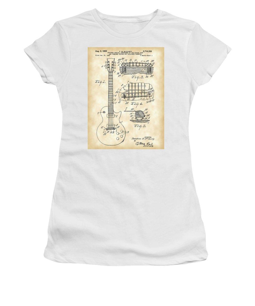 Les Paul Women's T-Shirt featuring the digital art Les Paul Guitar Patent 1953 - Vintage by Stephen Younts