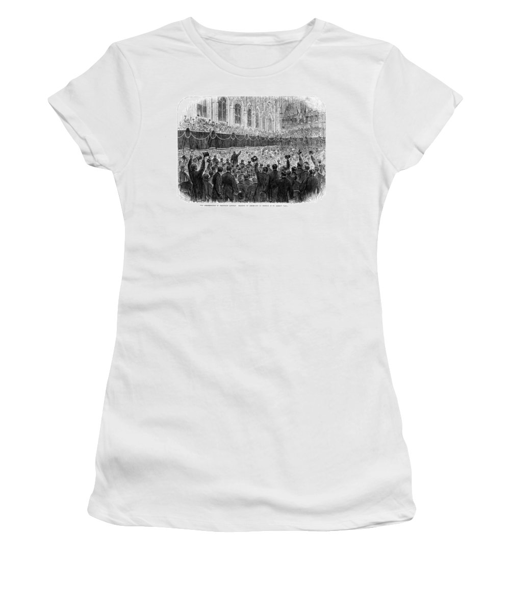 1865 Women's T-Shirt (Athletic Fit) featuring the painting Lincoln Assassination, 1865 by Granger