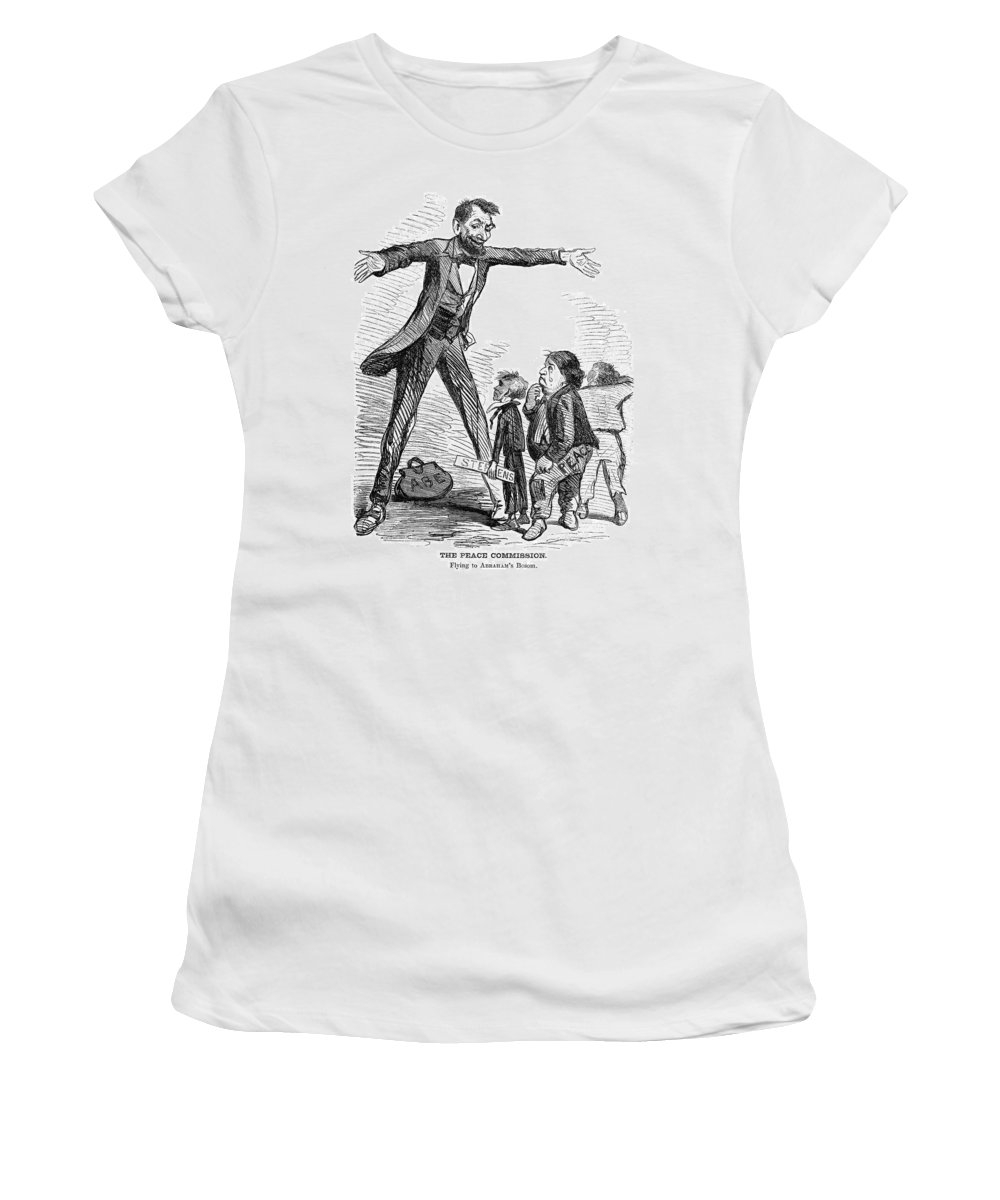 1865 Women's T-Shirt (Athletic Fit) featuring the painting Lincoln Cartoon, 1865 by Granger