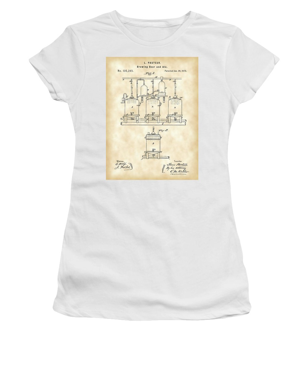 Beer Women's T-Shirt featuring the digital art Louis Pasteur Beer Brewing Patent 1873 - Vintage by Stephen Younts
