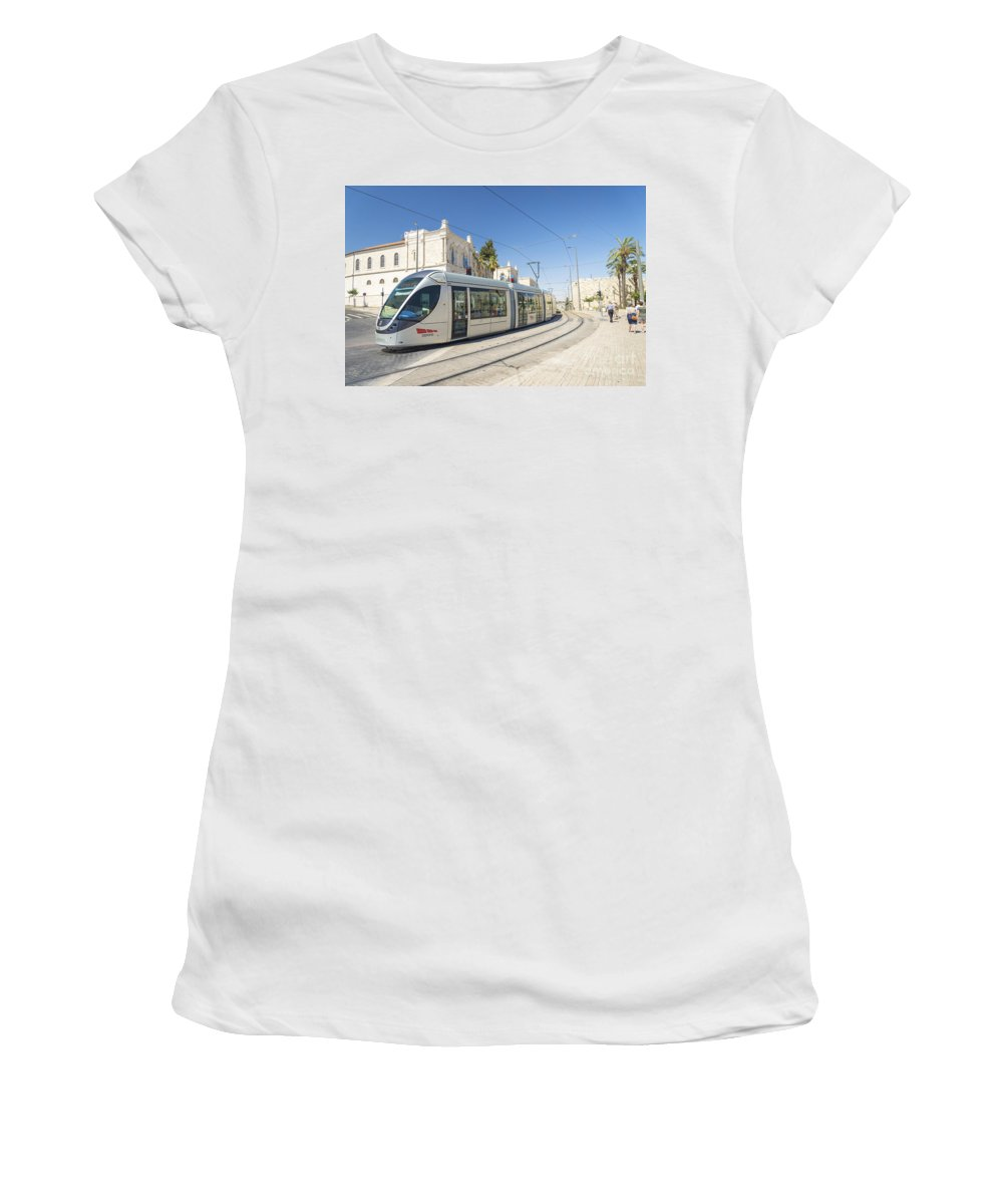 Ancient Women's T-Shirt (Athletic Fit) featuring the photograph Modern Tram In Central Jerusalem Israel by Jacek Malipan