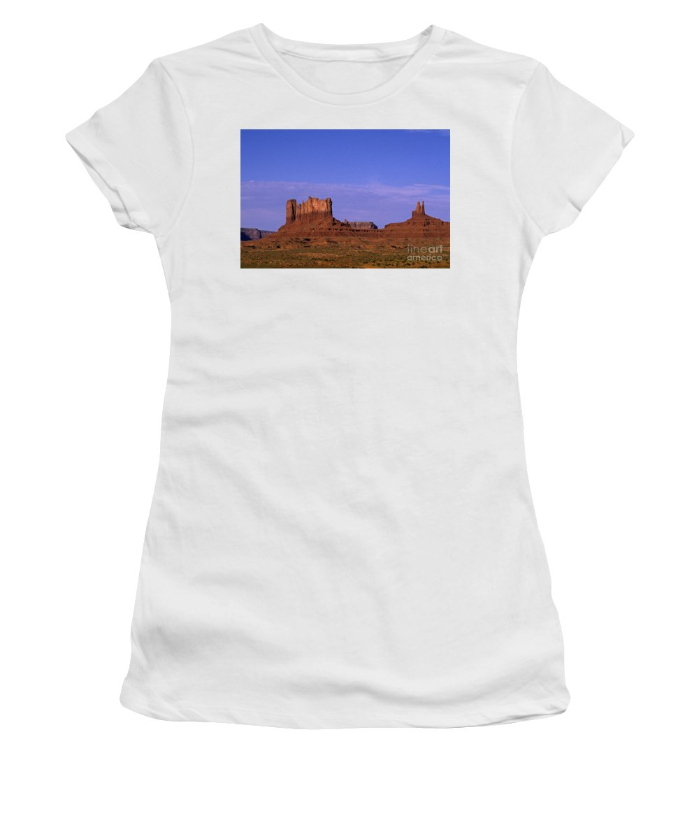 Adventure Women's T-Shirt (Athletic Fit) featuring the photograph Monument Valley Arizona State Usa by Jim Corwin