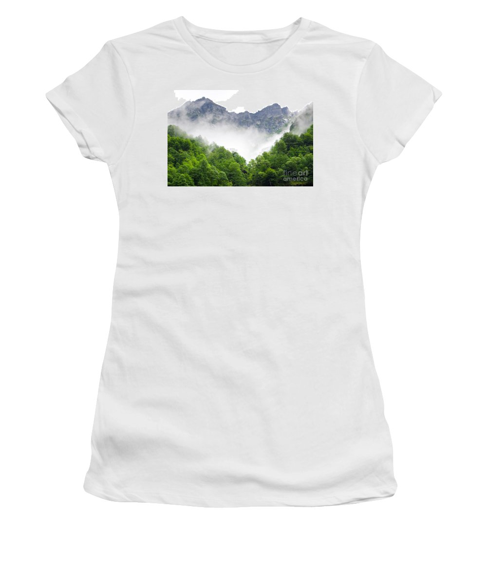 Mountain Women's T-Shirt featuring the photograph Mountain With Clouds by Mats Silvan