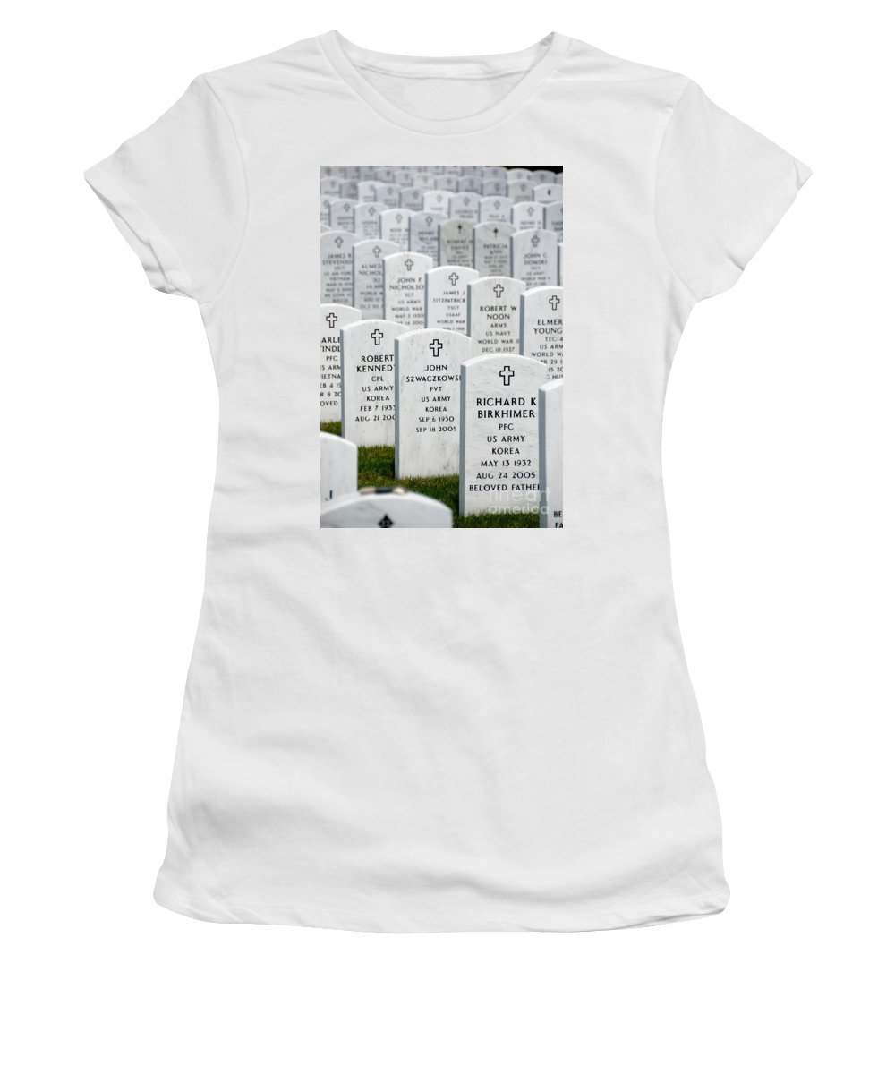 Aligned Women's T-Shirt featuring the photograph National Cemetery Of The Alleghenies by Amy Cicconi