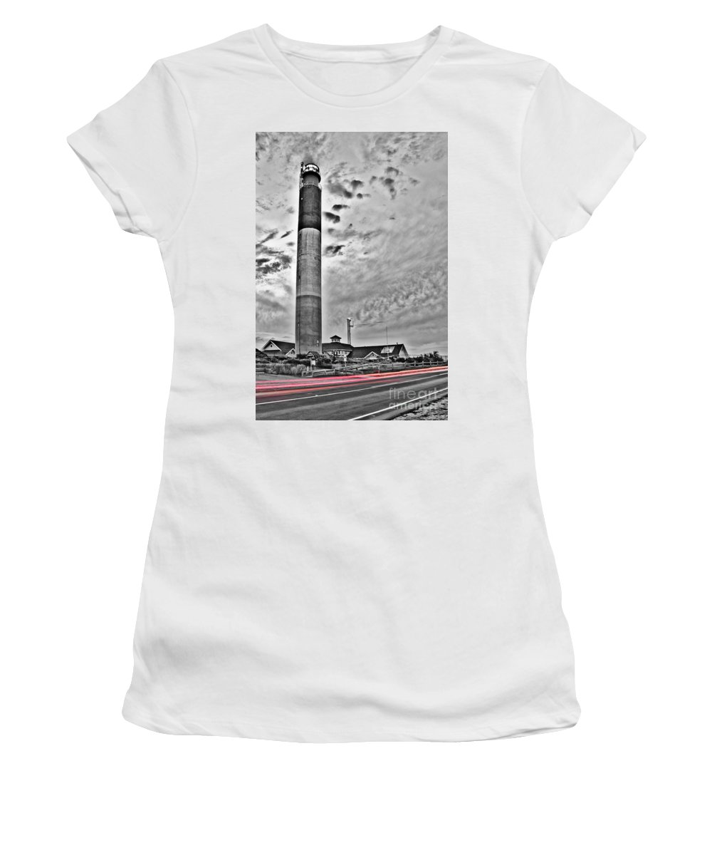 Sea Scape Women's T-Shirt (Athletic Fit) featuring the photograph Oak Island Lighthouse by Jh Photos