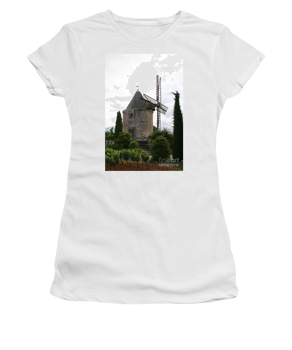 Mill Women's T-Shirt (Athletic Fit) featuring the photograph Old Provencal Windmill by Christiane Schulze Art And Photography