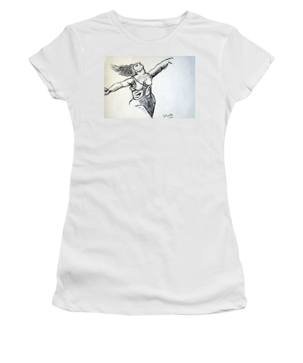 Nudes Women's T-Shirt featuring the drawing On The Beach Sketch by Paul Sutcliffe