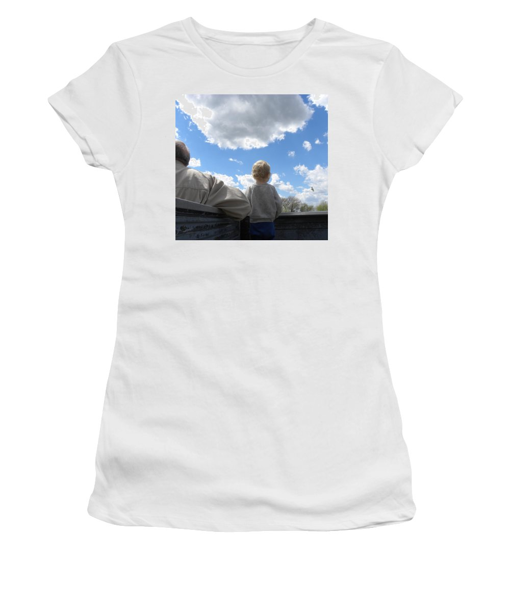 Plane Women's T-Shirt (Athletic Fit) featuring the photograph Plane Viewing From The Truck Bed by Sheri Lauren