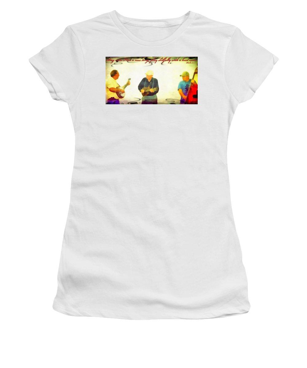 Jesus Women's T-Shirt featuring the digital art Psalm 33 3 by Michelle Greene Wheeler