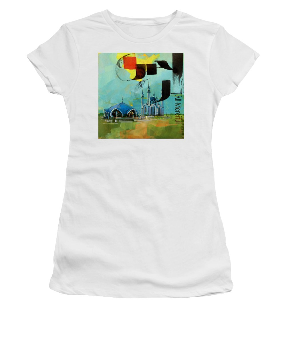 Qol Sharif Women's T-Shirt (Athletic Fit) featuring the painting Qol Sharif Mosque by Corporate Art Task Force