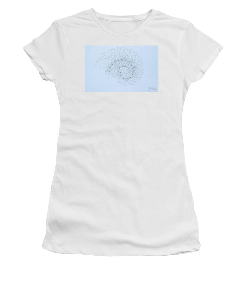 Jason Padgett Women's T-Shirt (Athletic Fit) featuring the drawing Quantum Nautilus by Jason Padgett