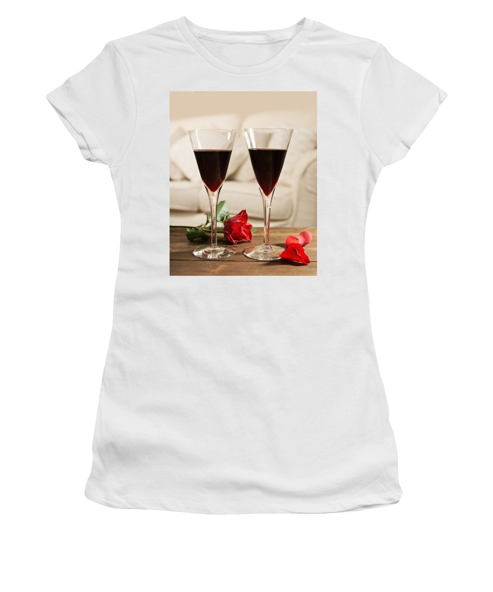 Red Women's T-Shirt (Athletic Fit) featuring the photograph Red Wine And Roses by Amanda Elwell