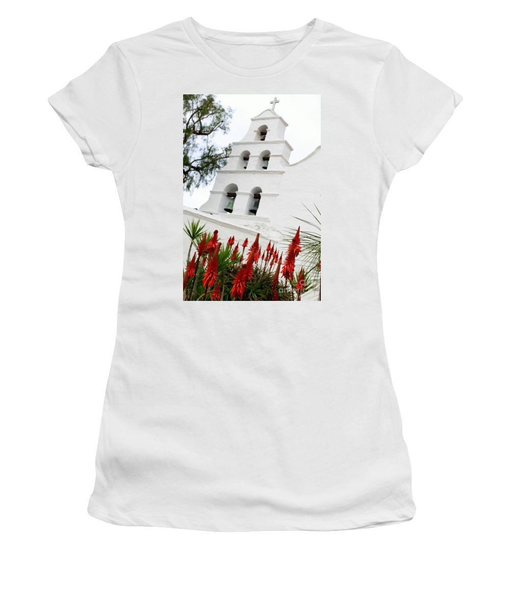san Diego Women's T-Shirt (Athletic Fit) featuring the photograph San Diego Mission by Henrik Lehnerer