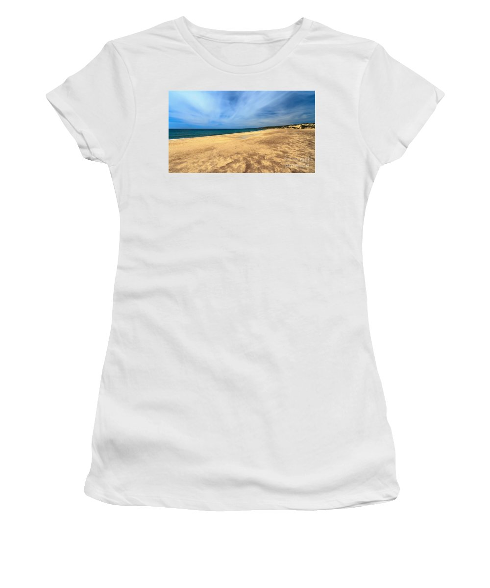 Bay Women's T-Shirt (Athletic Fit) featuring the photograph sandy beach in Piscinas by Antonio Scarpi