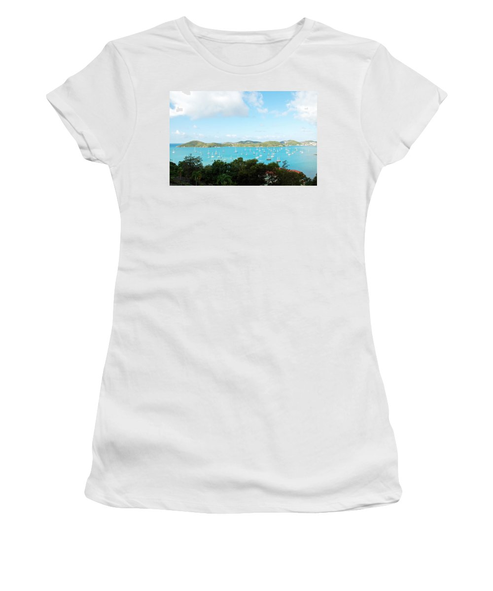 St Thomas Women's T-Shirt featuring the photograph Sea Of Sailboats by Aimee L Maher ALM GALLERY
