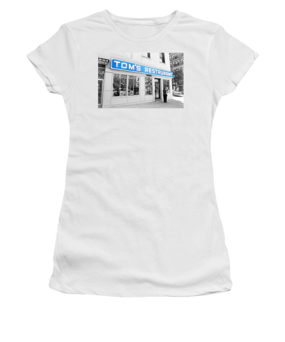 Seinfeld Women's T-Shirt featuring the photograph Seinfeld Diner Location by Valentino Visentini