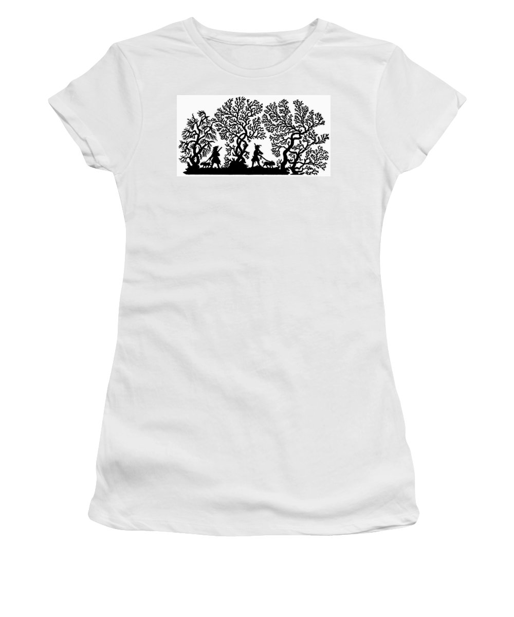 19th Century Women's T-Shirt (Athletic Fit) featuring the painting Silhouette Hunting by Granger