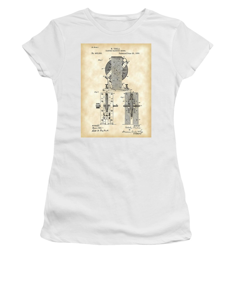 Tesla Women's T-Shirt featuring the digital art Tesla Electro Magnetic Motor Patent 1889 - Vintage by Stephen Younts