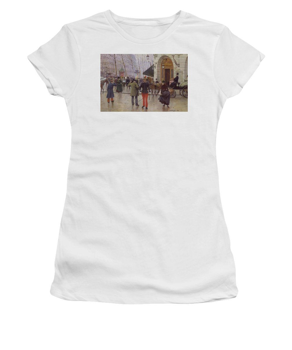 The Boulevard Des Capucines And The Vaudeville Theatre Women's T-Shirt (Athletic Fit) featuring the painting The Boulevard Des Capucines And The Vaudeville Theatre by Jean Beraud