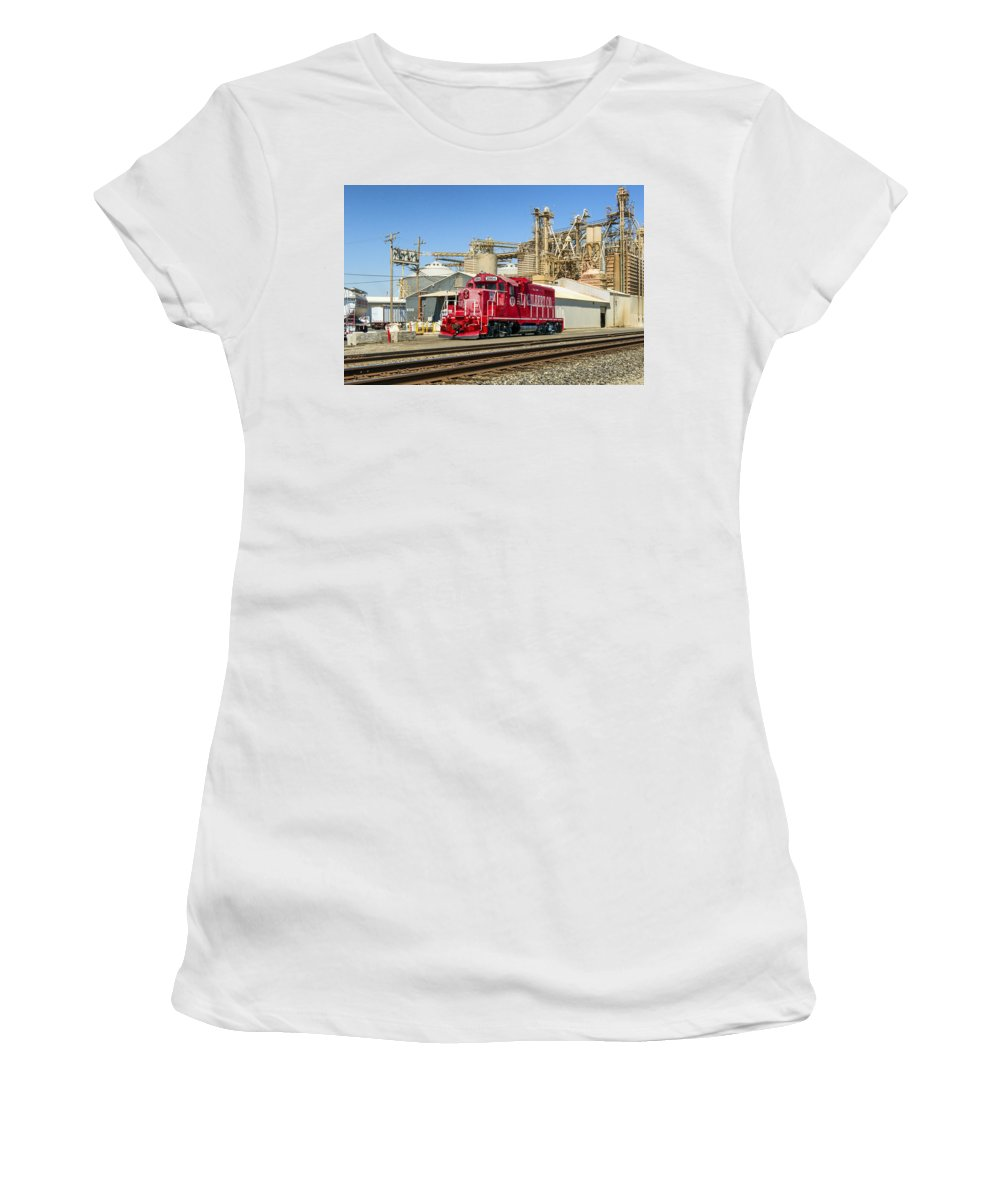 A.l. Gilbert Co. Women's T-Shirt (Athletic Fit) featuring the photograph The Red Locomotive by Jim Thompson