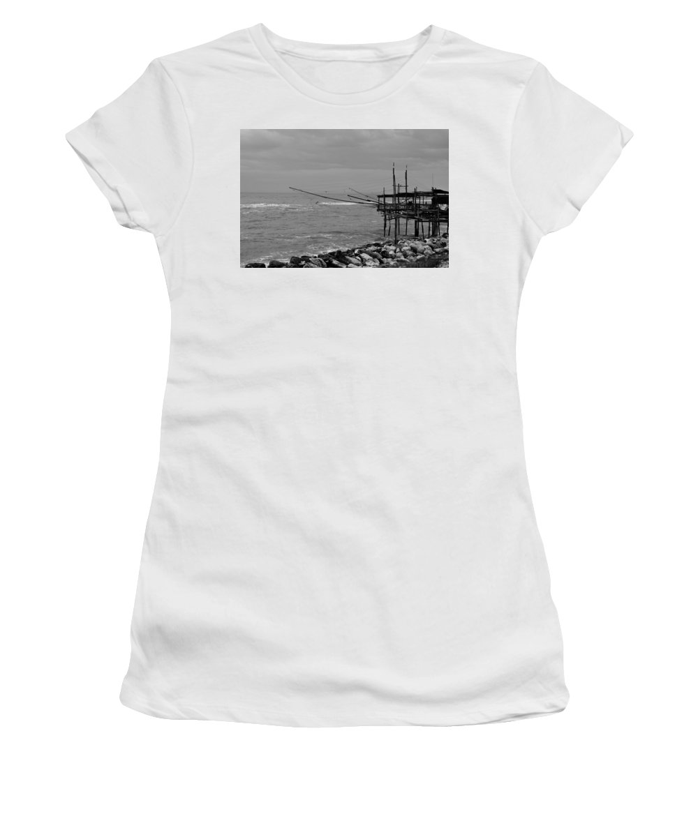 Italy Women's T-Shirt (Athletic Fit) featuring the photograph Trabocco On The Coast Of Italy by Andrea Mazzocchetti