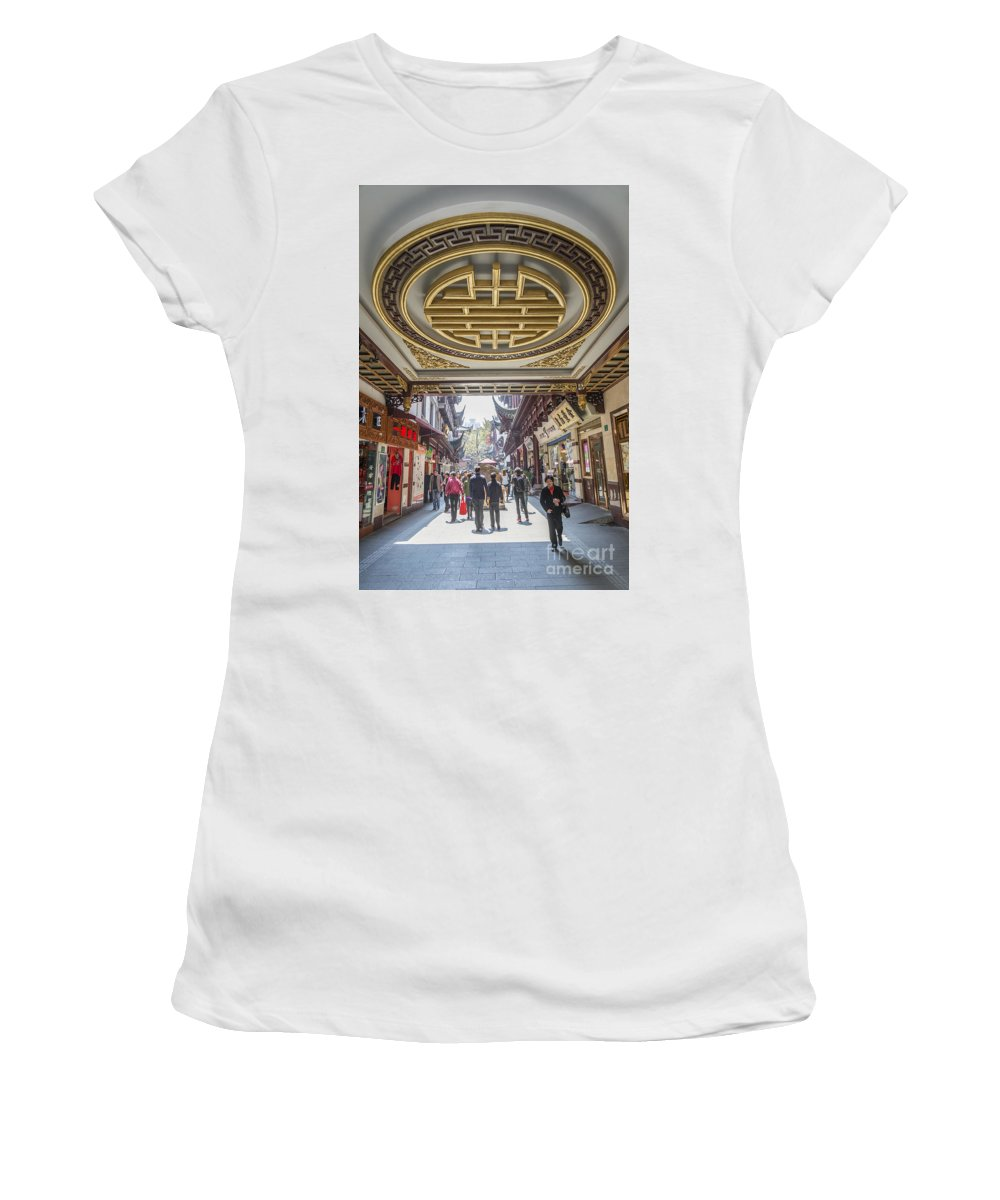 Architecture Women's T-Shirt (Athletic Fit) featuring the photograph Traditional Shopping Area In Shanghai China by Jacek Malipan