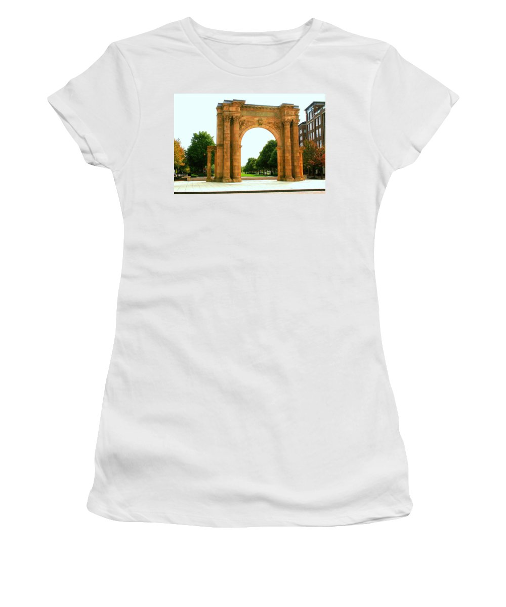 Arch Women's T-Shirt featuring the photograph Union Station Arch by Laurel Talabere