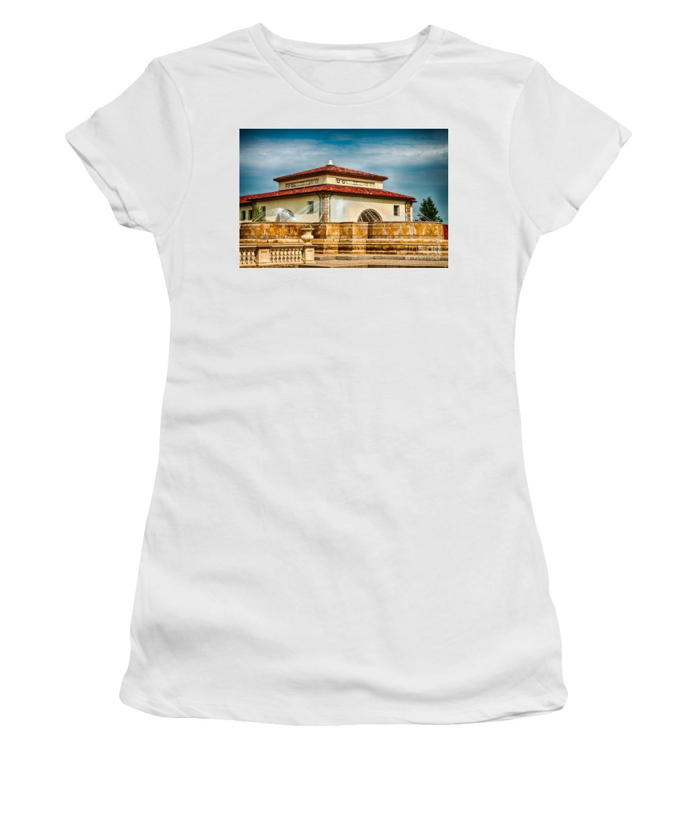 Unity Village Women's T-Shirt (Athletic Fit) featuring the photograph Unity Village And Fountain by Terri Morris