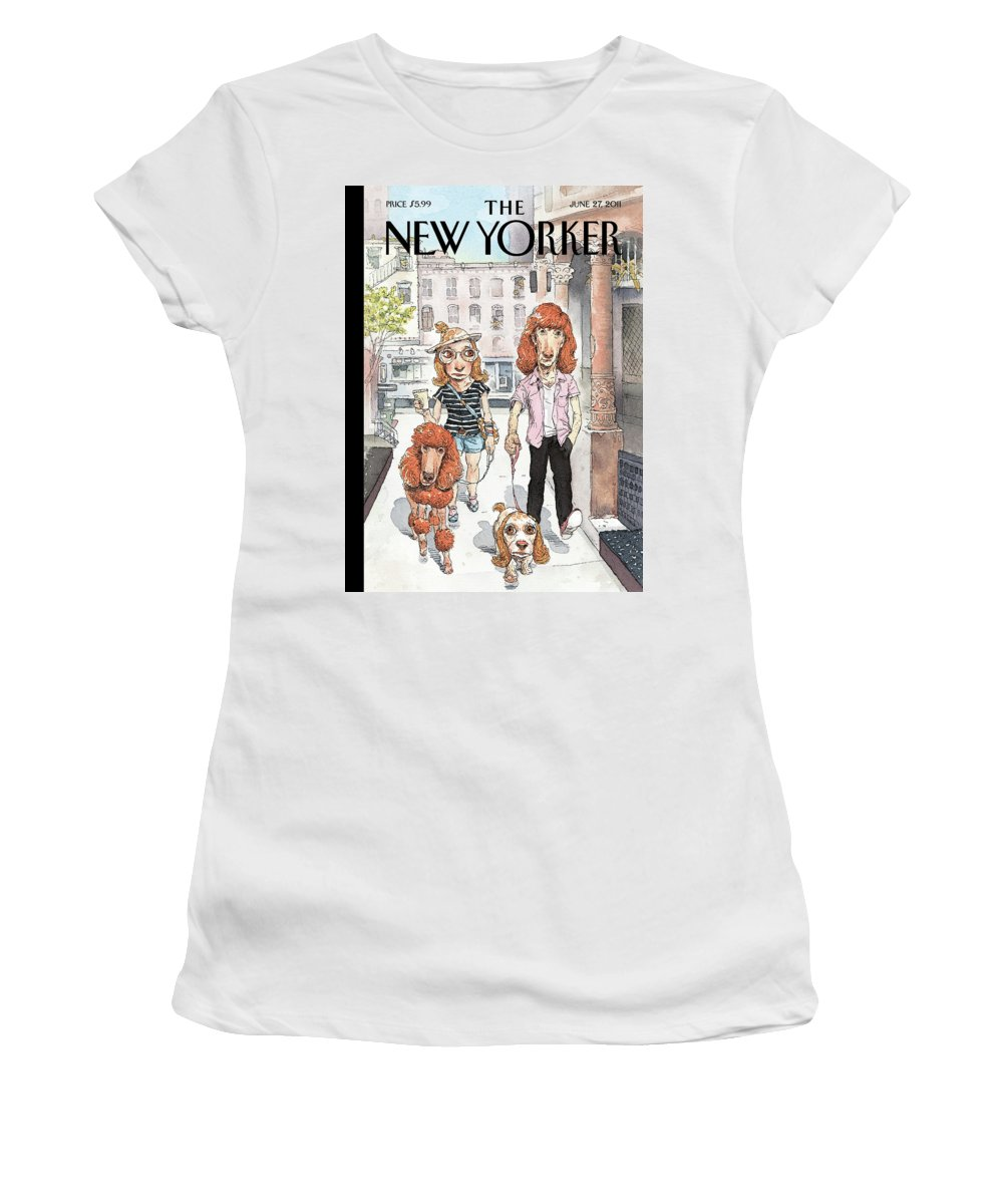 Pets Women's T-Shirt featuring the painting Dog Meets Dog by John Cuneo
