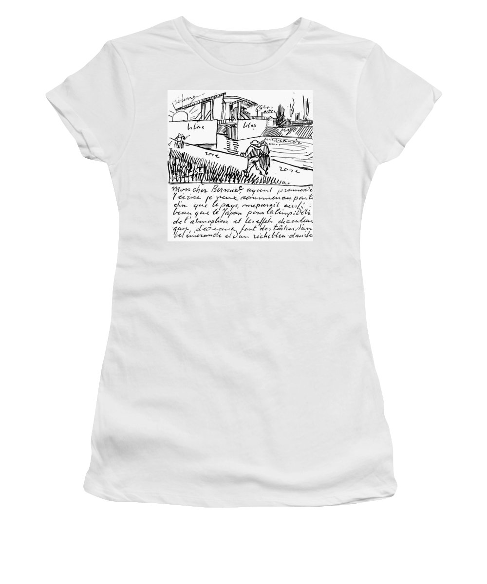 1888 Women's T-Shirt (Athletic Fit) featuring the painting Van Gogh Letter, 1888 by Granger