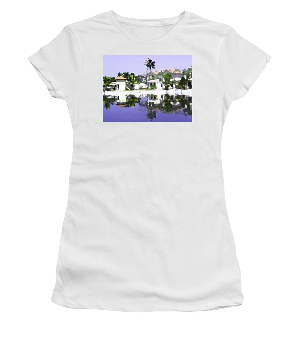 Alleppey Women's T-Shirt (Athletic Fit) featuring the digital art View Of The Cottages And Lagoon Water In Alleppey by Ashish Agarwal
