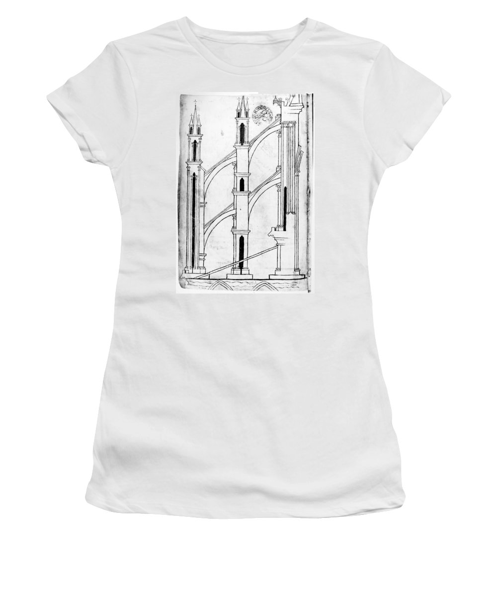13th Century Women's T-Shirt (Athletic Fit) featuring the drawing Villard De Honnecourt (c1225-1250) by Granger