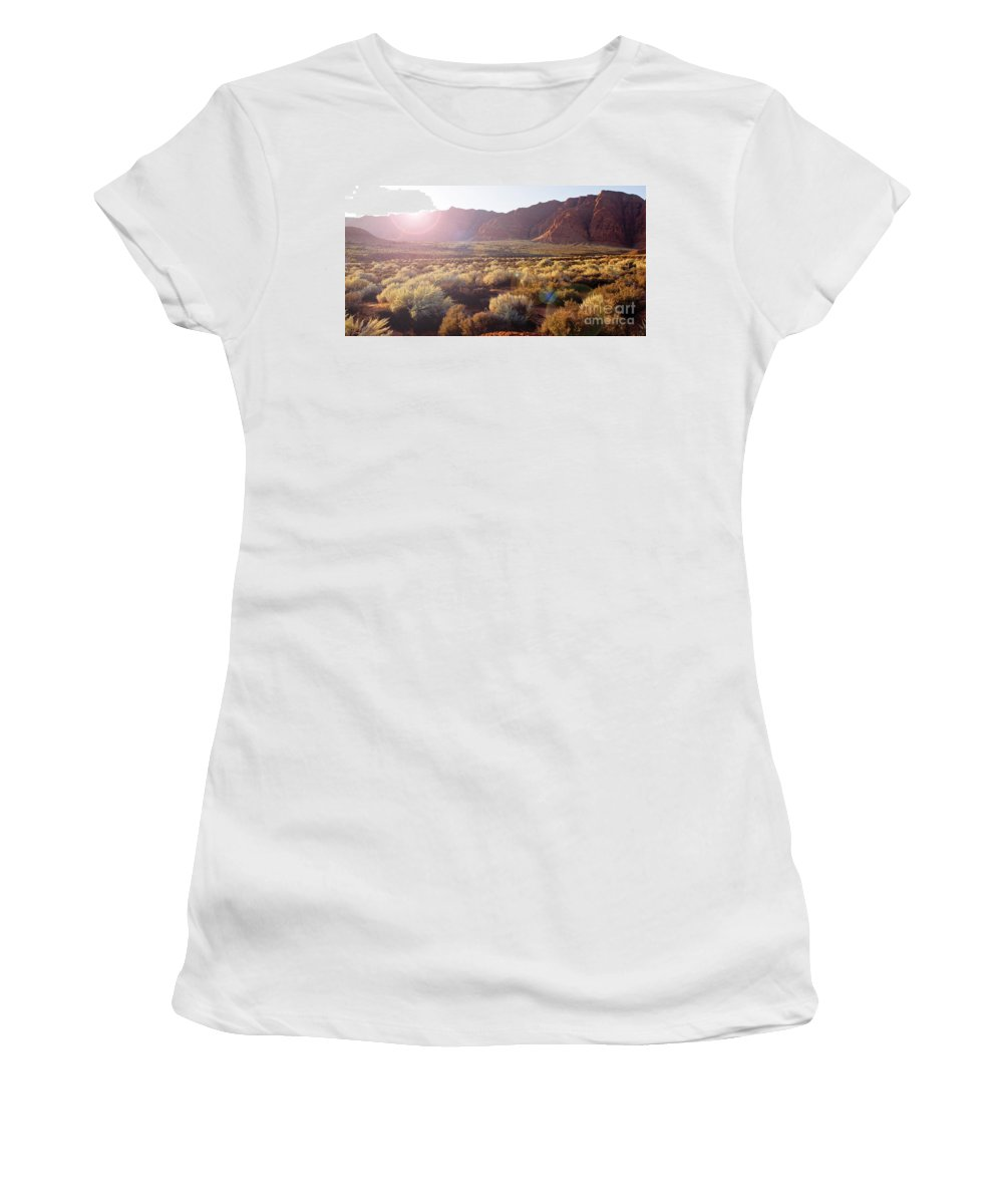 Red-rock Women's T-Shirt (Athletic Fit) featuring the photograph Warm Sunshine by Kim Marshall