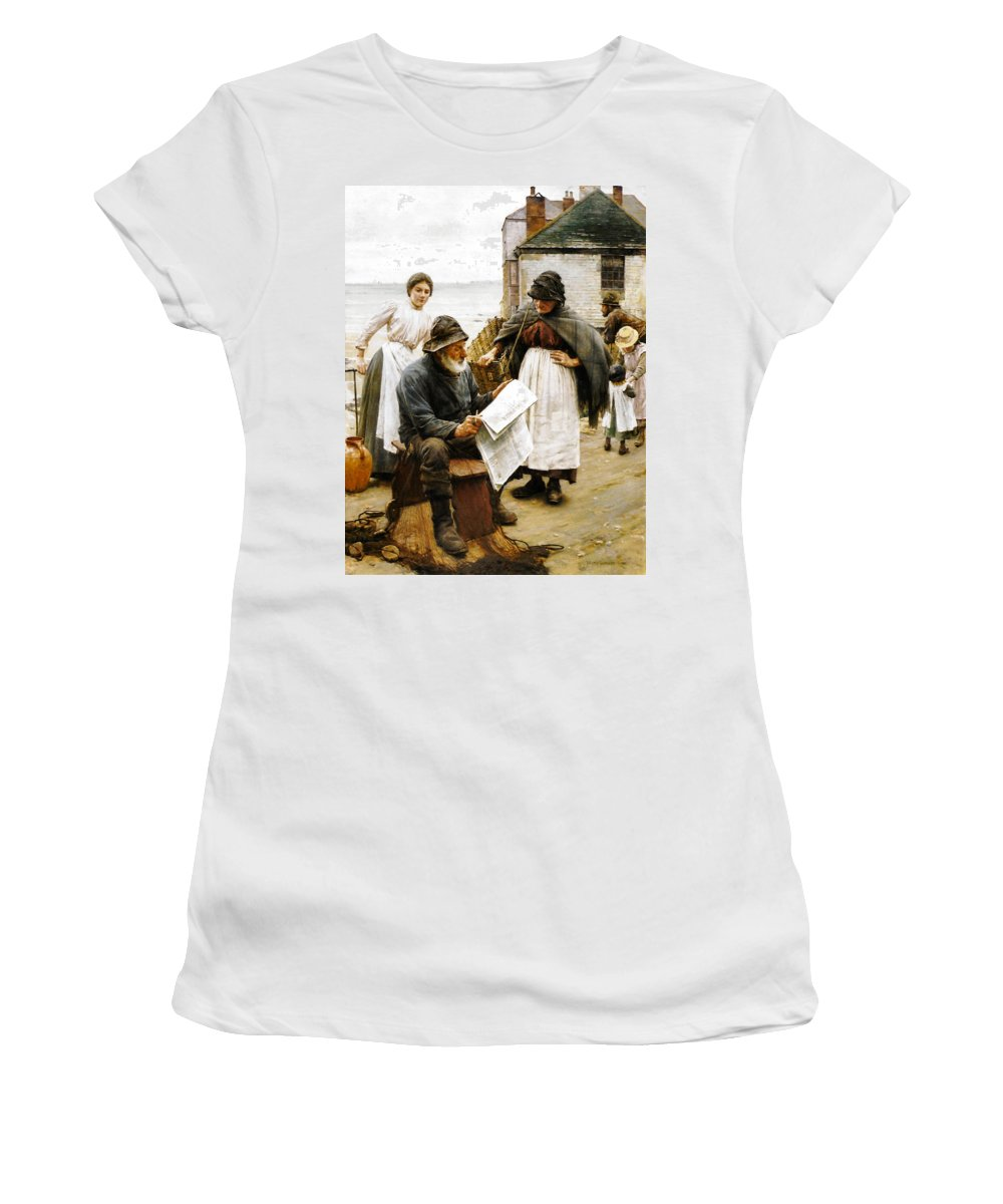 On The Quay Newlyn Women's T-Shirt featuring the digital art When The Boats Are Away by Walter Langley